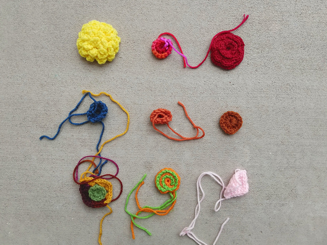 Nine more of the myriad crochet remnants in my empire