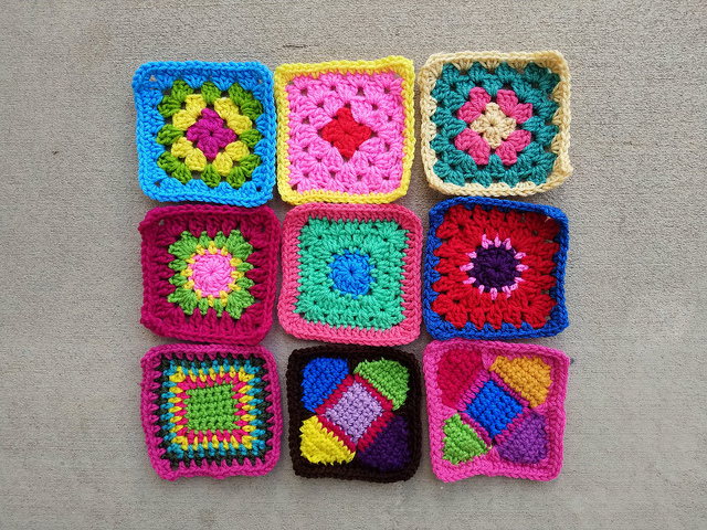 Nine new rehabbed crochet squares