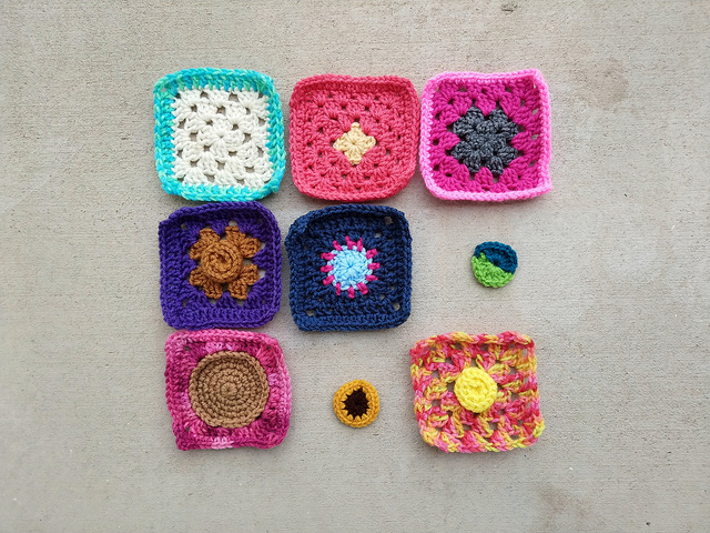 The same nine patch of crochet remnants 27 hours later