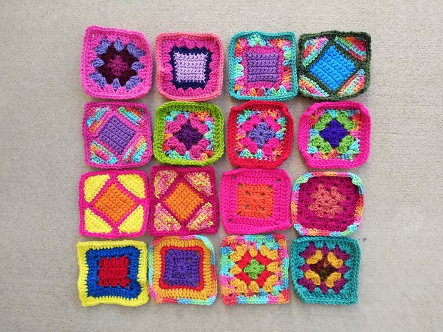 Sixteen substitute crochet remnants rehabbed and ready for adventure