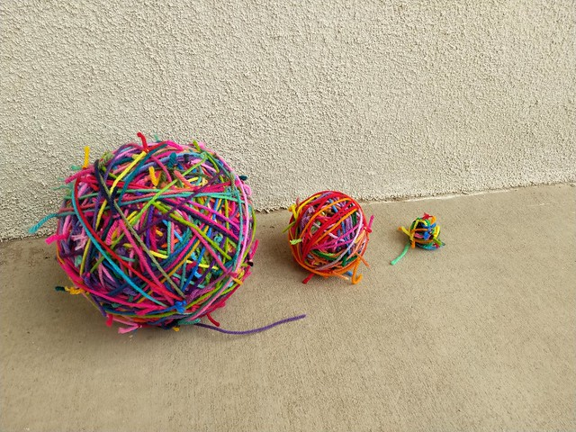 The yarn scraps after some organizing