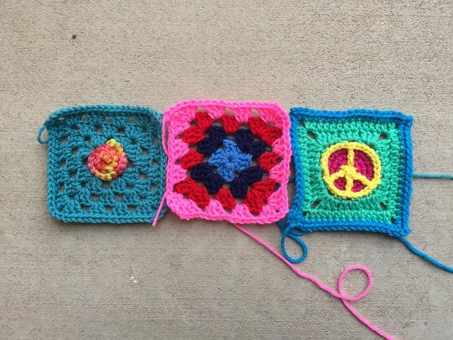 Three rehabbed five-inch crochet squares