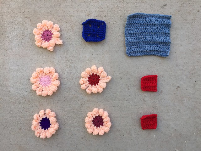 Nine crochet remnants with the ends woven in