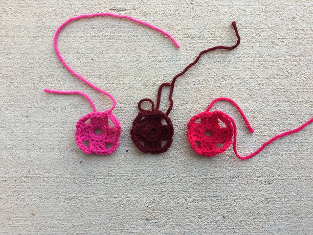The first two rounds of three future four-inch flamboyant granny squares