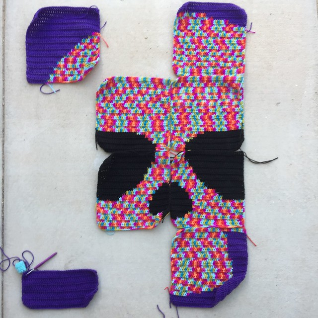 The Day of the Dead crochet yarn bomb on Sunday
