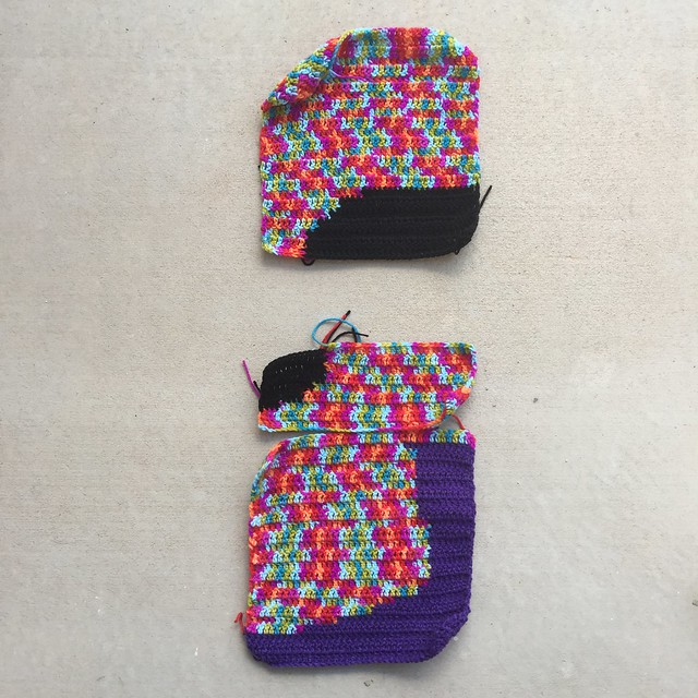 Two and-a-half of sixteen double crochet panels