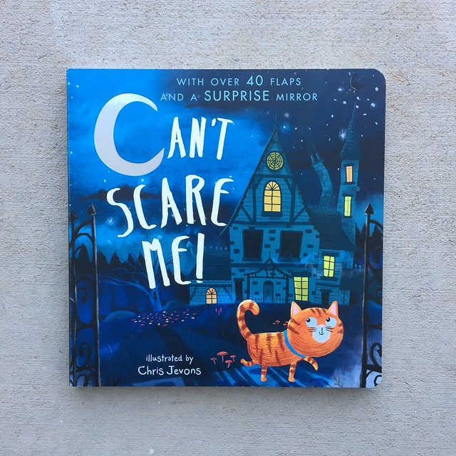 The children's book, Can't Scare Me! featuring an orange cat