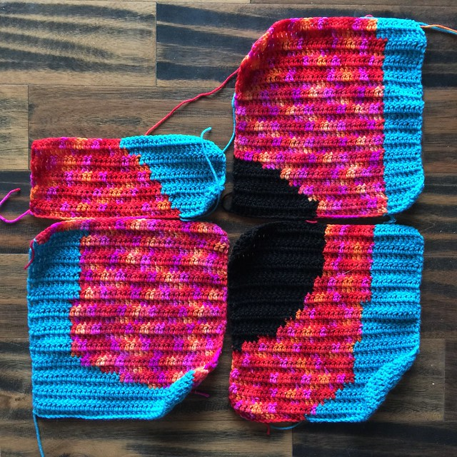 Three and a half crochet panels for the third day of the dead crochet yarn bomb