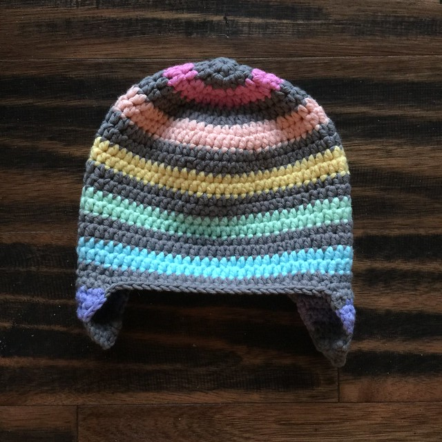 Grandma zone crochet: A striped crochet toddler hat with earflaps