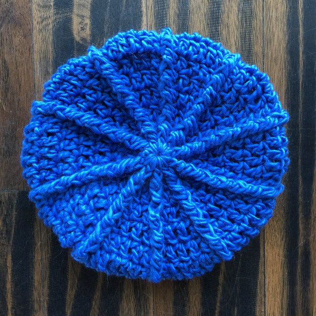 A textured newsboy hat I made in a trade of crochet for coffee