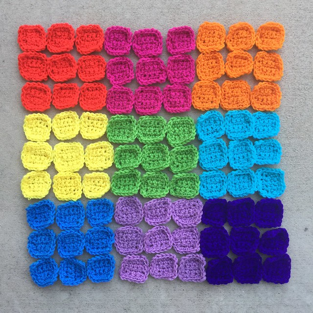 A rainbow of 81 crochet squares for a crochet sudoku puzzle afghan