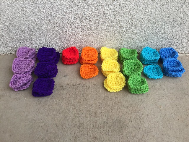 A rainbow of forty-nine crochet squares