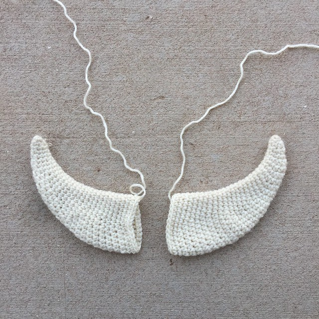 The off-white crochet horns reworked and ready for adventure