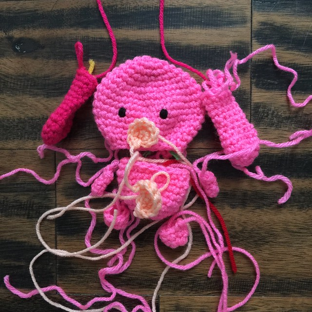 A pink crochet sugarbunny for Easter 2020