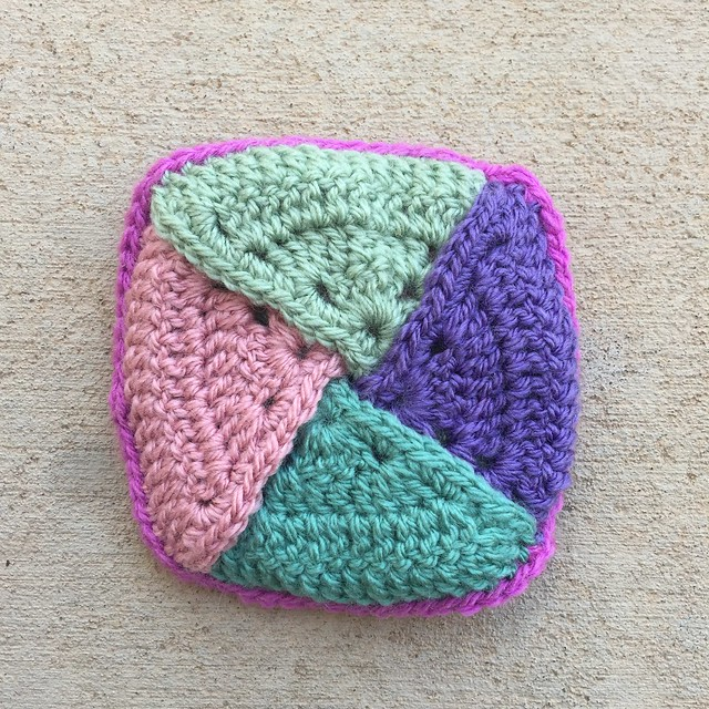 The crochet coin purse with all of the edges properly joined