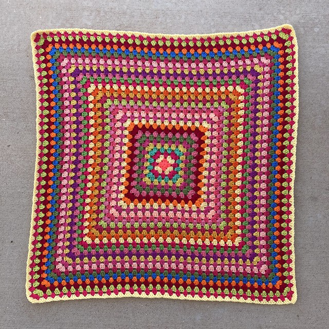 A thirty-five round granny square