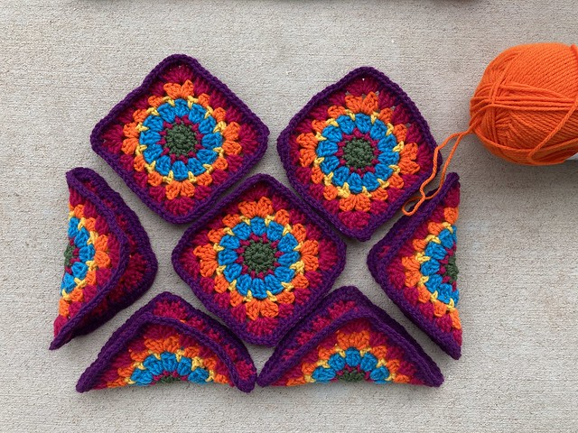Ten squares and some orange yarn to  join them