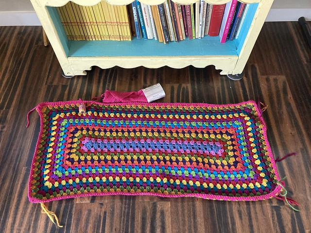 The multicolor crochet granny rectangle rug