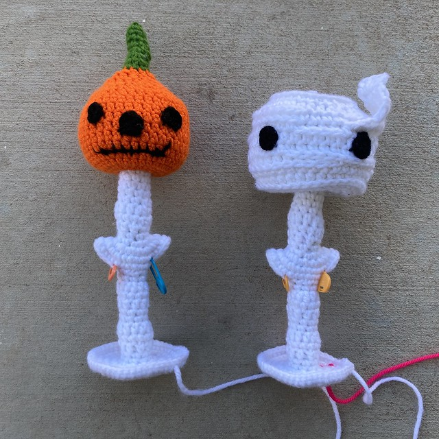 Two future crochet skeletons with crochet heads
