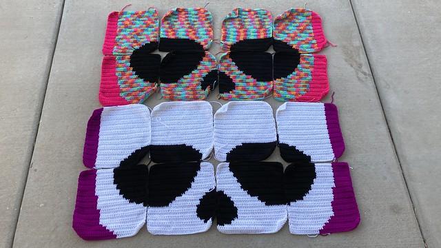 two future sugar skull crochet yarn bombs