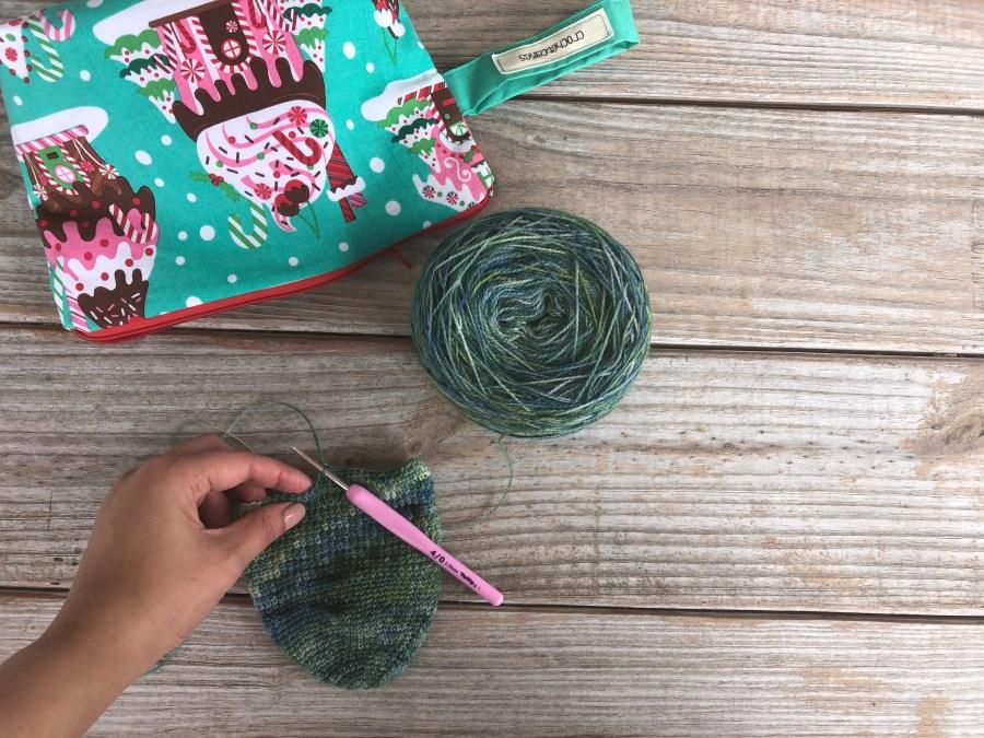 crochet laceweight sock in progress.