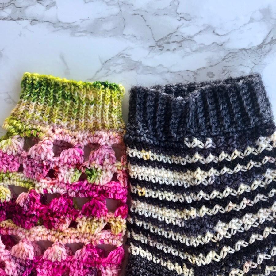 crochet cuff and knit cuff