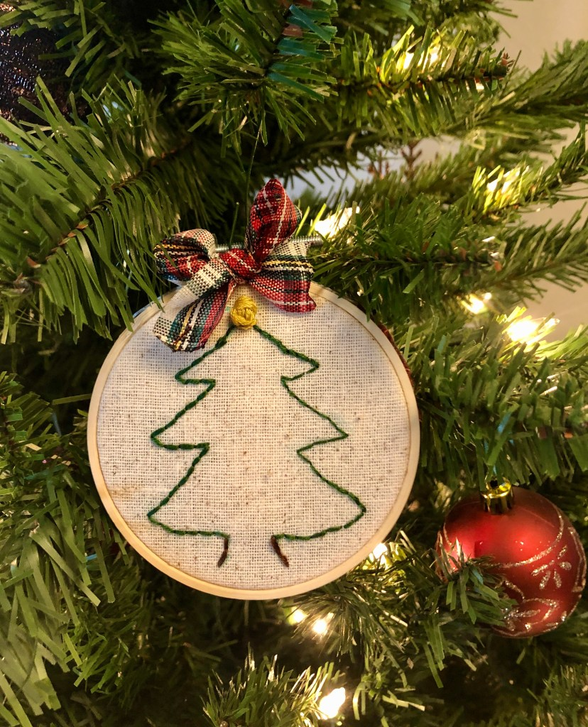 embroidered Christmas ornament.