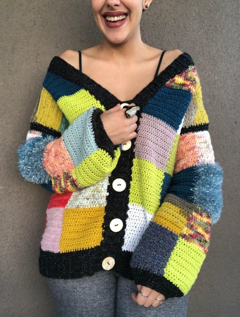 scrap yarn cardigan
