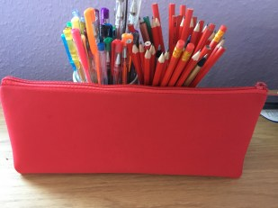 All of her new gel pens and pencils.