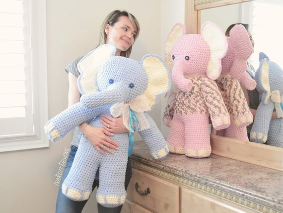 Josefina and Jeffery Big Amigurumi Elephants