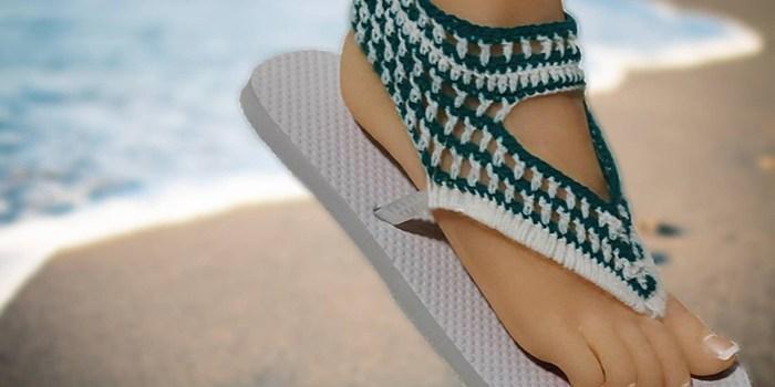 Crochet Sandals Using Flip-Flops Pattern