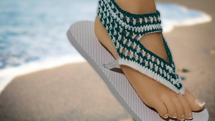 Crochet Sandals Using Flip Flops Pattern