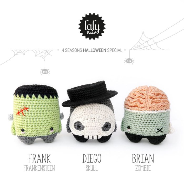 Halloween Amigurumi - Frankenstein, Skull, and Zombie - crochet envy