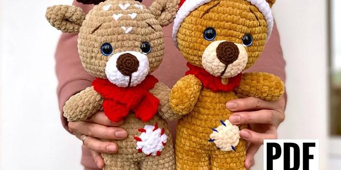 Christmas Bear and Deer Amigurumi