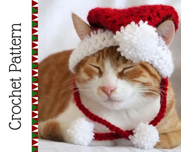 Santa Cat Hat Crochet Pattern