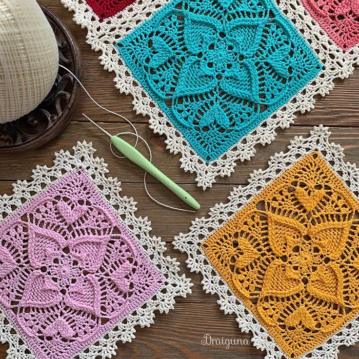 Sweetheart Square Crochet Pattern by Draiguna