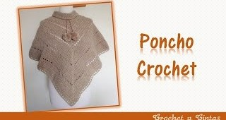 Poncho estilo V tejido a crochet