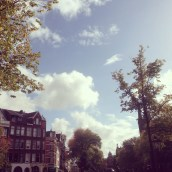 Amsterdam houses and sky
