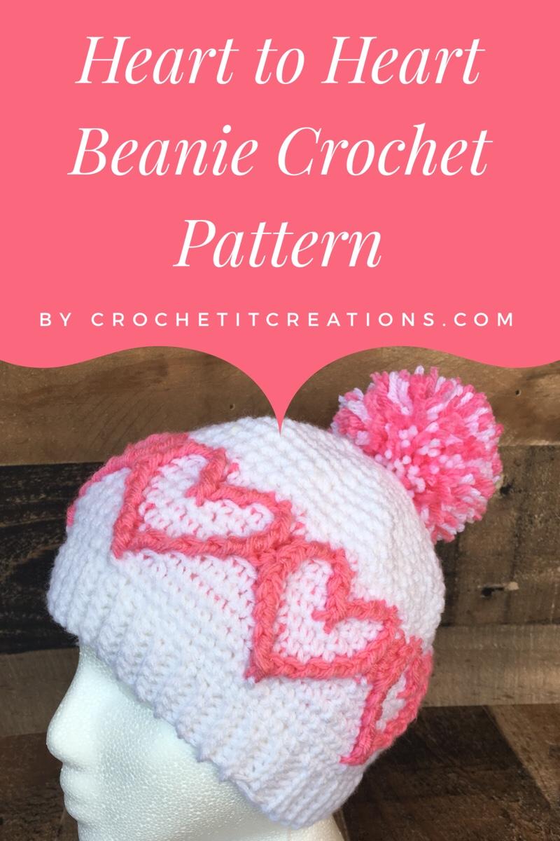 Heart to Heart Beanie Crochet Pattern - Crochet it Creations 99e36a9eef7