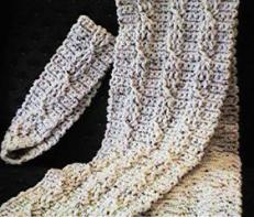 CrochetKim Free Crochet Pattern | Twisted Cable Scarf and Headband Set @crochetkim
