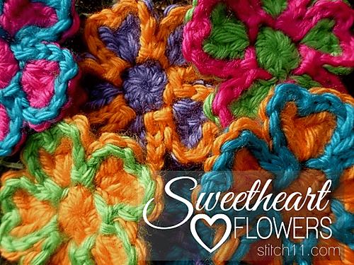 Free Crochet Pattern: Sweetheart Flowers