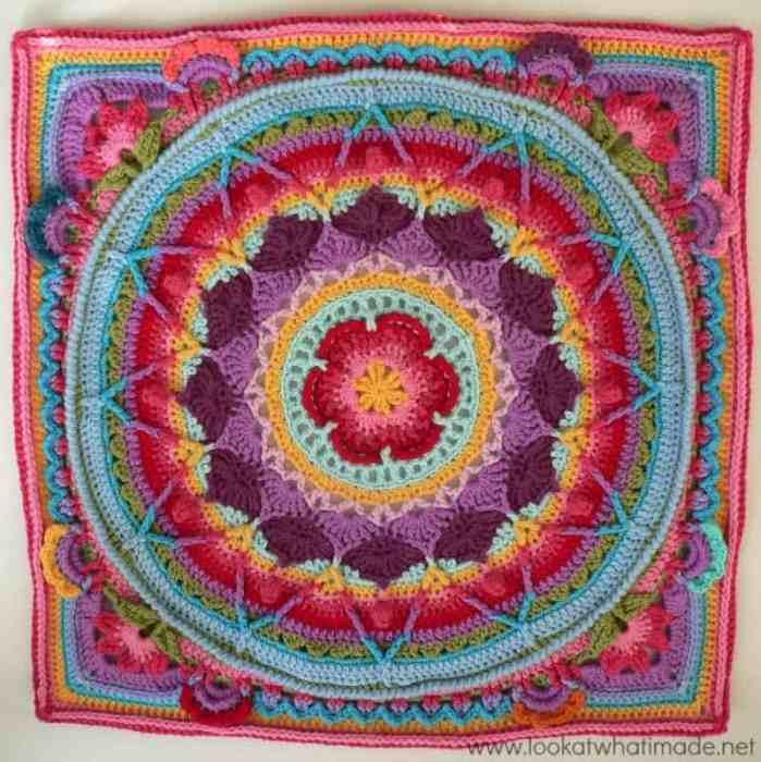 Sophies Garden Mandala Afghan Square Free Crochet Pattern Crochetkim