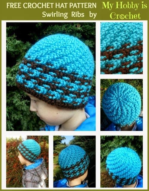 Free Crochet Pattern: Spiral Ribbed Swirl Hat
