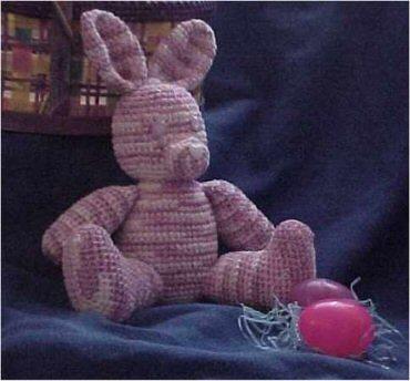 CrochetKim Free Crochet Pattern   Chenille Stuffed Easter Bunny @crochetkim