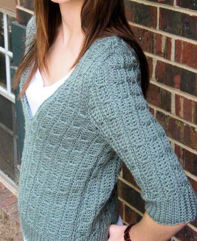 Mock Cable Pullover CrochetKim Free Crochet Pattern