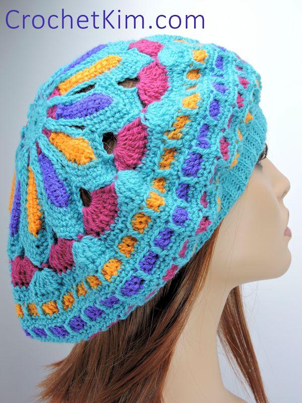 Turquoise Mandala Hat Beret Free Crochet Pattern