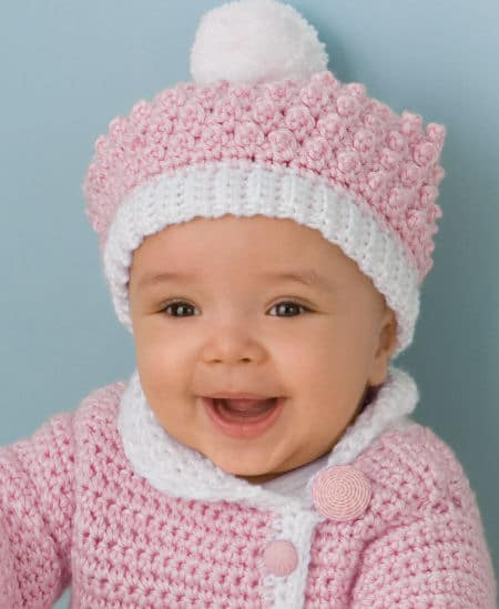 Victorian Rose Baby Sweater and Hat Set | CrochetKim Free Crochet Pattern