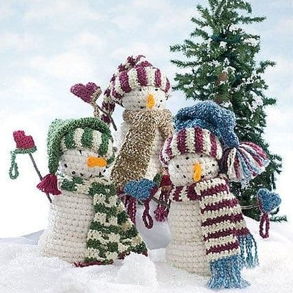 Big Snowman Trio Free Crochet Pattern
