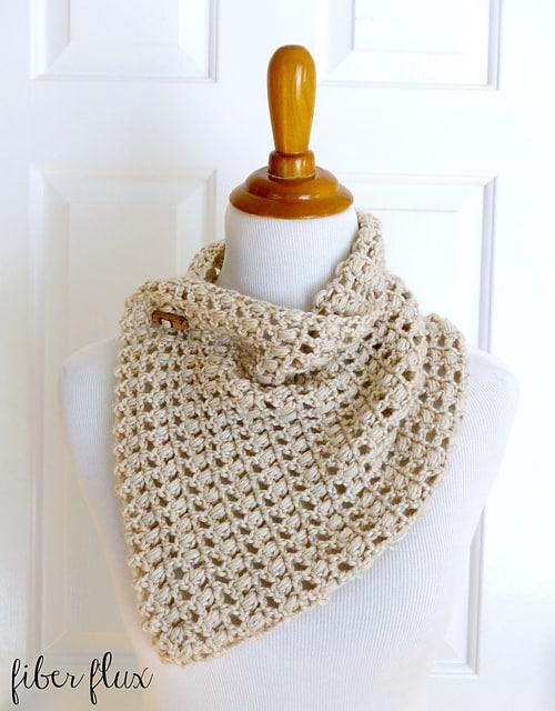 Free Crochet Pattern: French Vanilla Button Cowl
