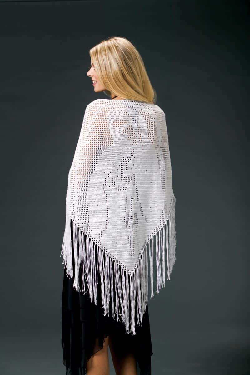 Blessed Mother Prayer Shawl | CrochetKim Free Filet Crochet Pattern